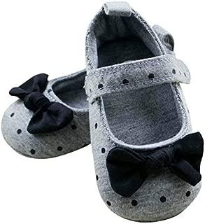 FemmeStopper Baby Girl 9-13 Months (13cm) Baby Girl Cotton Cloth Prewalker Grey Polka Dot Crib Shoes