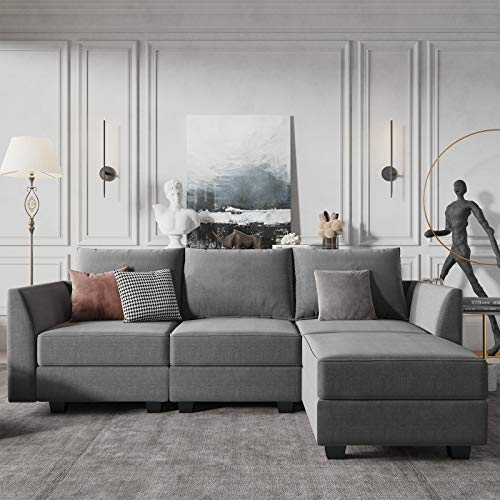 HONBAY Convertible Sectional Sofa Couch L Shape Couch with Reversible Chaise Modular Sectional Sofa for Apartment, Grey