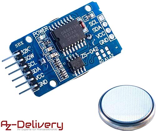 AZDelivery Real Time Clock RTC DS3231 e Batteria gratuita inclusa I2C per Arduino con eBook
