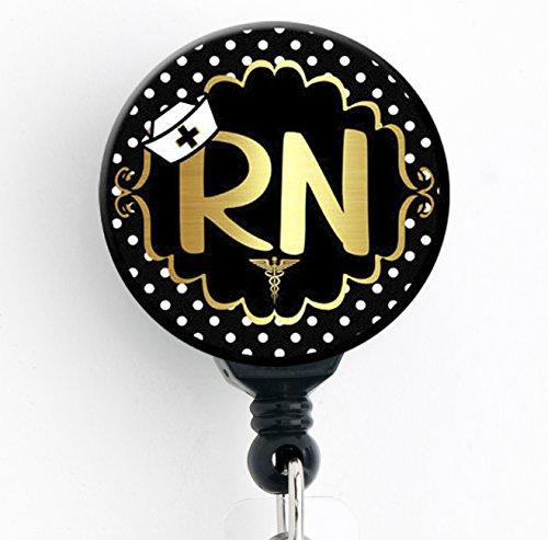 RN Gold Polka Dot - Retractable Badge Reel with Swivel Clip and Extra-Long 34 inch Cord - Badge Holder/Nurse Badge/Cute Badge/Hospital Badge