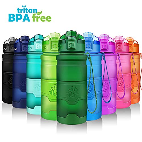 ZORRI Sports Water Bottle - 400/500/700ml /1L- Leak Proof& BPA Free Lightweight Bottles With Filter For Kids/Adults, Eco Reusable Drink Bottles For Cycling,Gym,Camping,Running,Girls,Boys,Women,Men