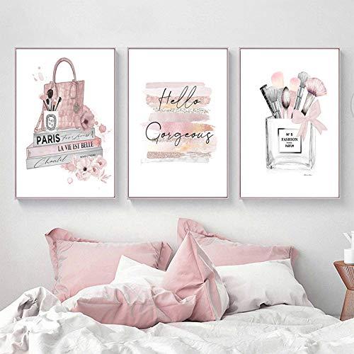 Cartel de moda Pinceles de maquillaje Belleza Arte de la pared Libros de moda Impresiones Lienzo Pintura Rosa Perfume Cuadros de la pared Decoración de la habitación de la niña 40x50cmx3 Sin marco
