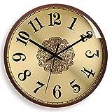 GRENSS Reloj de pared silencioso de madera de oro rosa moderno reloj de pared grande relojes decoración del hogar dormitorio Duvar Saati regalo FZ883, E, 16 pulgadas