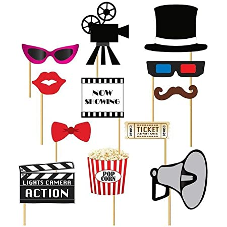 Guirca GUI7205 - Juego de 12 Accesorios con temática de Cine para photocall