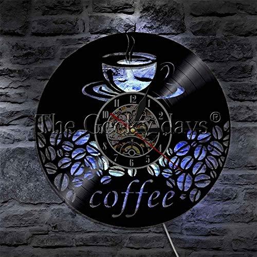 Jiedoud Kaffeetasse und Bohnen Vintage Küche Cafe Bar Wandkunst Zeichen Wanduhr Kaffeeliebhaber Cafe Dekoration Uhrmit LED
