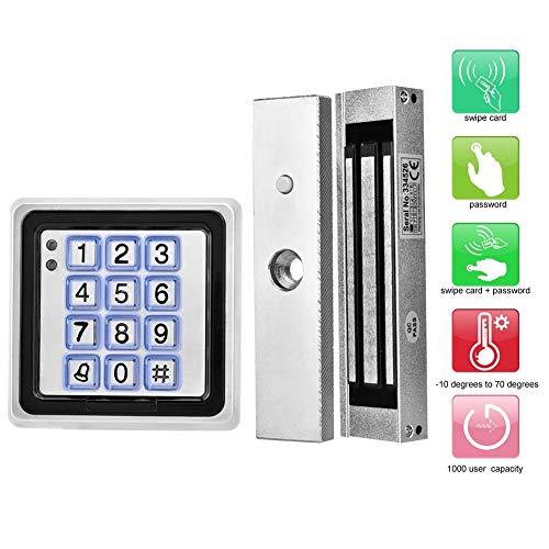 RFID toegangscontrolesysteem voor deuren, toegangscontrolemachine (065 vierkante meter) + 180 kg magnetisch slot + afstandsbediening + voeding (100-240 V) + deuropeningsknop