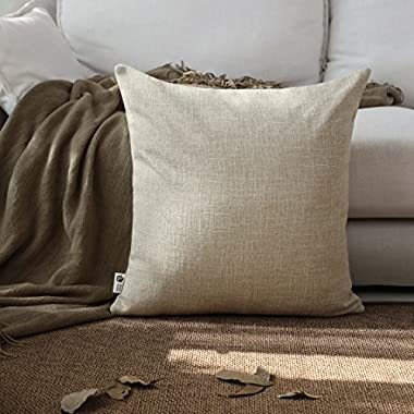 Kevin Textile Decor Lined Supersoft Faux Linen Square Throw Cushion Cover Sham Pillowcase, Hidden Zipper, 18x18 inch(1 Piece, Natural Linen)