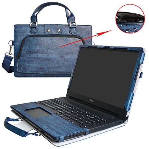 Inspiron 15 5558 5559 5555 5566 Case,2 in 1 Accurately Designed Protective PU Leather Cover + Portable Carrying Bag for 15.6' Dell Inspiron 15 5000 Series i5558 i5559 i5555 i5566 Laptop,Blue