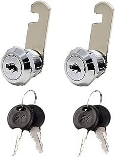 Higomall Cabinet Tubular Cam Lock, 25/32 Inch(20mm) Barrel Length, 45/64 Inch(18mm) Thread Bolt Diameter, Keyed Different, Chrome Finish, 2 Pack