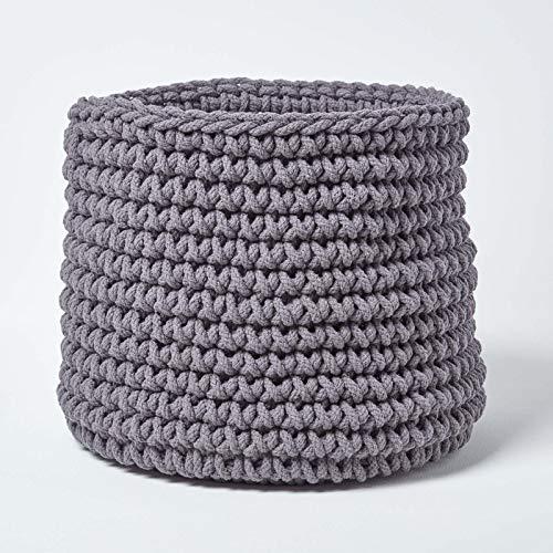 Homescapes Grand Panier de rangement rond tressé en tricot Gris 100% coton - 42 x 37 cm