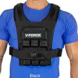 V-Force 30 Lb Basketball Weight Vest - Ultra Slim for Overhead Movement - Made in USA (Black)