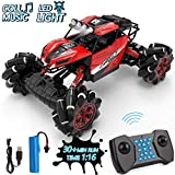 Drift Remote Control Car 1: 16 Rechargeable RC Truck 2.4 Ghz 4WD High Speed Off Road Vehicle with LED Lights & Music, Car Toys for Boys Girls (Red)