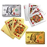 Gamie Silver and Gold $100 Bill Playing Cards, 2 Decks, Waterproof Playing Cards for Kids, Adults and Poker, Vegas Party Decorations, Casino Birthday Party Favors, 3.5 x 2.25 Inches