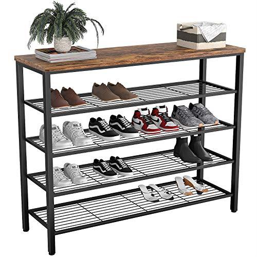 Homfio Shoe Rack Industrial Shoe Storage Organizer 5-Tier Metal Shoe Rack Shelves with Wood Board Entryway Table for Hallway Living Room Closet Bedroom