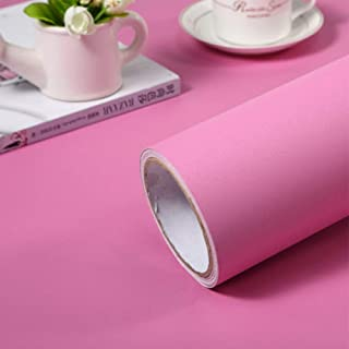 LZYMLG Solid Color PVC Waterproof Self Adhesive Wallpaper for Living Room Kids Bedroom Decor Vinyl Contact Paper for Kitchen Cabinets Pink 3m X 40cm