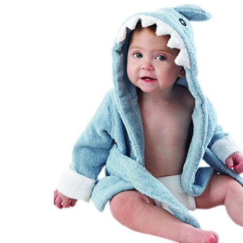 "Baby Aspen""Let The Fin Begin"" Blue Terry Shark Robe, Blue, 0-9 Months (BA14003BL)"