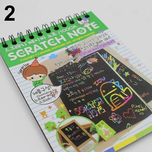 newhashiqi Scratch Art Papier, buntes Kratzpapier, Graffiti Ben buntes Kratzbild, Werkzeugset, magisches Malpapier, Notizbuch, Geschenk grün