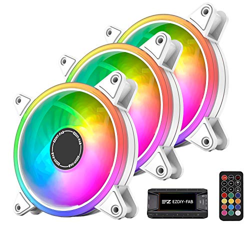 EZDIY-FAB Weiß Moonlight RGB Gehäuselüfter 120mm mit Lüfter Hub X und Fernbedienung,5V 3Pin RGB Motherboard Sync,ARGB Lüfter für PC Gehäuse -3 Pack