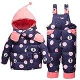 Bebé Invierno 3 Piezas Trajes de Nieve Capucha Plumón Chaqueta + Pantalones y Monos para La Nieve + Bufanda Niños Niñas Snowsuit Ropa Conjuntos Azul 2-3 Años