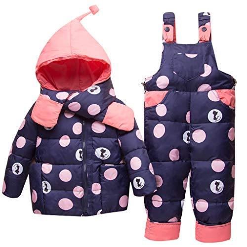 Tute da Neve Bambino Inverno 3 Pezzi Tutone Cappuccio Piumino + Pantaloni e Salopette da Neve + Sciarpa Bambini Tuta da Sci Vestiti Completini e Coordinati Blu 18-24 Mesi