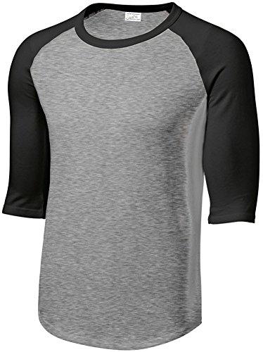 Mens 3/4 Sleeve 100% Cotton Baseball T-Shirt, Heather Grey/Black, Size Large