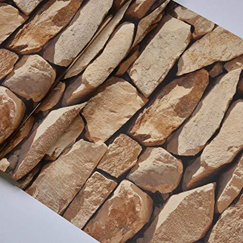 Retro 3D Stereo behang Ademende Milieubescherming Stone Culture behang Koffie Shop bar Woonkamer Woonkamer behang-Bruin