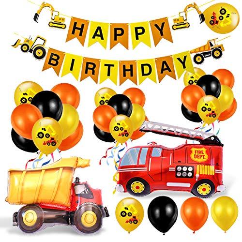 Bagger Geburtstag Deko, Baustelle Geburtstag Deko, Baustelle Kindergeburtstag Party Dekoration, Auto Geburtstag Deko, Baufahrzeug Feuer Auto Folienballons, Bagger Luftballons, Geburtstagdeko Jungen