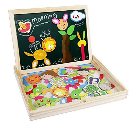 Fajiabao Rompecabezas Caja de Madera Magnética de Tablero Educativo Pizarra Juguete Puzzles para Niños de 3 Años + (Tipo 1)