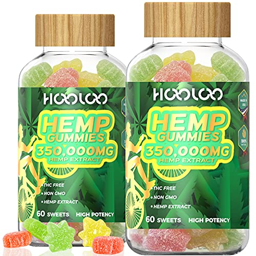 (2 Pack) Hemp Gummies, HOOLOO 350,000MG Natural Hemp Gummy for Relaxing, Sleep Better, Reduce Stress Anxiety, Fruity Hemp Extract Gummies, Made in USA