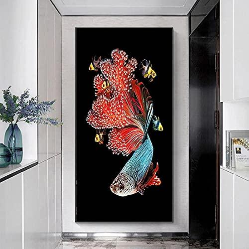 Hermosa pintura 70x140 cm sin marco moderno abstracto peces de natación koi carteles e impresiones pintura arte de la pared imágenes sala de estar decoración del hogar