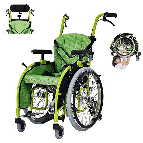 ZZYYZZ Folding Child Wheelchair, Lightweight Aluminum Alloy Frame, Four Brake System Cerebral Palsy Self-Propelled Wheelchair Can Bear 100Kg with Headrest,Seatwidth35cm
