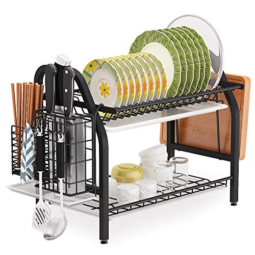 Dish Drying Rack, 1Easylife 2 Tier Dish Rack Stainless Steel with Utensil Knife Holder and Cutting Board Holder Dish Drainer with Removable Drain Board for Kitchen Counter Organizer Storage (Black)