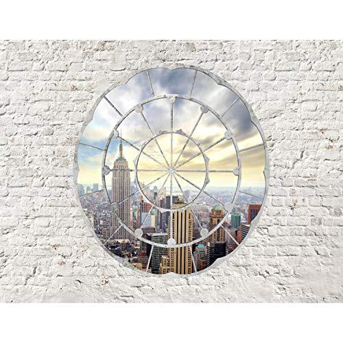 Fototapete Fenster nach New York 396 x 280 cm Vlies Wand Tapete Wohnzimmer Schlafzimmer Büro Flur Dekoration Wandbilder XXL Moderne Wanddeko - 100% MADE IN GERMANY Runa Tapeten 9055012a