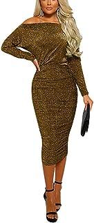 فساتين نصف رسمية للنساء - فستان نسائي بدون كتف ماسي مكشكش متوسط الطول للحفلات المسائية ذهبي مقاس S