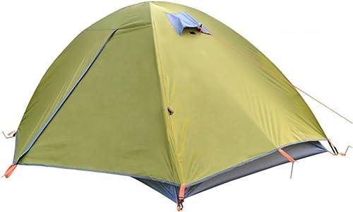 ZHAORLL Double Tente De Camping en Plein Air, 1 à 2 Personnes, Randonnée, Camping, Plein Air, Voyage, Structure Simple, Imperméable, Prougeection Solaire, Rose, Vert Deux Couleurs