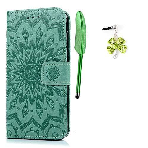 Cover per Huawei P8 Lite 2017 Flip, Custodia Libro Pelle PU e TPU Silicone con Funzione Supporto Chiusura Magnetica Portafoglio Libretto Bumper Case per Huawei P8 Lite 2017, Girasole Menta Verde