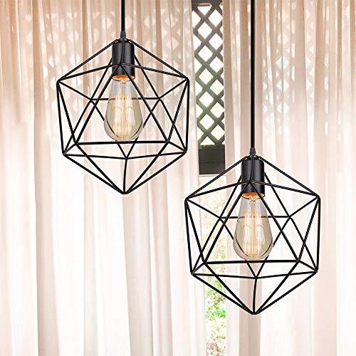 2 x Industrial Design Diamant Hängeleuchte Prismatische Lampenschirm, Ø 26 cm Vintage Pendelleuchte Lampe Deckenleuchte LED