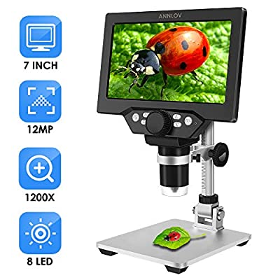 7 inch LCD Digital Microscope ANNLOV 1-1200X USB Maginfication Handheld Electronic Coin Microscope Video Camera with 8 Adjustable LED Lights for Adults Coin Inspection Kids Outside Use