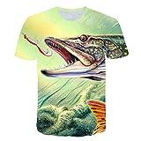 LGLZKA Camiseta Unisex Camiseta De Fondo con Estampado Digital 3D Jersey para Hombre Camiseta Ajustada con Cuello Redondo Lucio De Pescado del...
