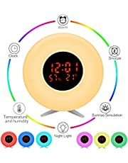 Pulchrarm Despertador Luz Infantil Luz Nocturna con Simulador de Amanecer, Temperatura, Humedad, Luz de 7 Colores, 5 Sonidos Naturales, 10 Niveles de Brillo, Lámpara de Mesa para Decoración, Regalo