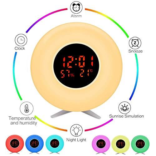 Kinderwecker Nachtlicht mit Sonnenaufgang, Temperatur, Luftfeuchtigkeit, 7 Farben, 5 natürliche Klänge, 10 Helligkeitsstufen, Tischlampe für Dekoration, Geschenk