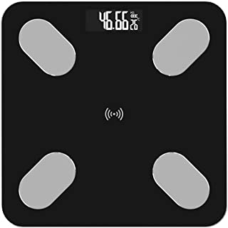 Báscula de Grasa Corporal Profesional Báscula Antideslizante de Piso Báscula de Peso Digital Inteligente científica Aplicación Bluetooth Duradera (Color: Negro)