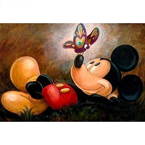 Diopn 5D Pintura Diamante Diy Mickey Mouse Bordado Punto De Cruz Mosaico Rhinestone Decoración Del Hogar(Diamante Redondo 40 * 50)