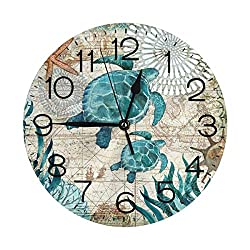 N/W Turtle in The Deep Sea Wall Clock 10 Round,Battery Operated Wall Clocks for Home Decor Living Room Kitchen Bedroom Office