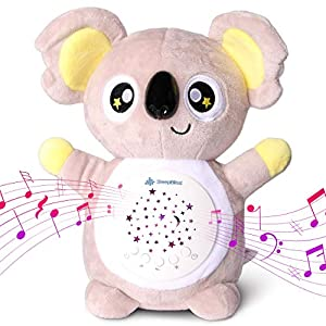 SleepBliss Baby Sleep Soother White Noise Machine Portable Koala Baby Sound Machine Star Night Light 13 Different Sounds, Auto Shut Off Washable Gender Neutral Shusher Baby Sleep Glow Worm Baby Toy