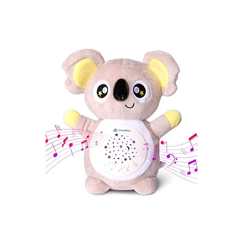 crib bedding and baby bedding sleepbliss baby sleep soother white noise machine portable koala baby sound machine star night light 13 different sounds, auto shut off washable gender neutral shusher baby sleep glow worm baby toy