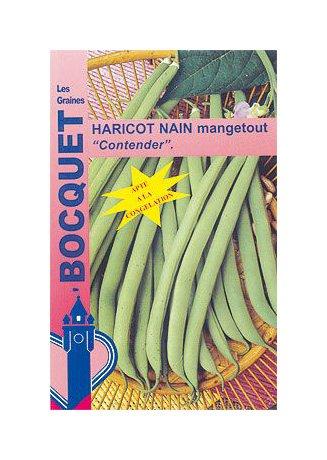 Les Graines Bocquet - Graines De Haricot Nain Mangetout Contender - 120G - Graines Potagères À Semer - Sachet De 120Grammes