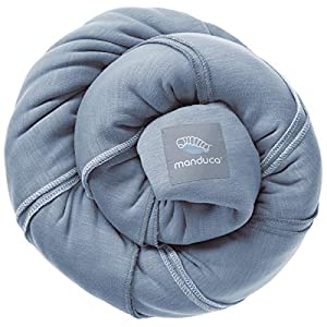 manduca SLING Baby Wrap > Skyblue < Fular Portabebes Elastico con Certificado GOTS, Calidad Ecológica, Algodón Orgánico, Para Recien Nacidos & Bebes Pequeños 3,5-15kg (azul claro, 5,10m x 0,60m)