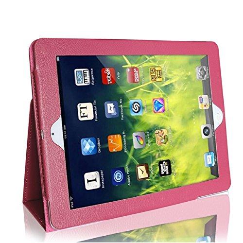 iPad 2/iPad 3/iPad 4 Case, GARUNK Lightweight PU Leather Folio Fold Stand Cover Case for iPad 4th Generation With Retina Display, iPad 3 & iPad 2, Rose Red