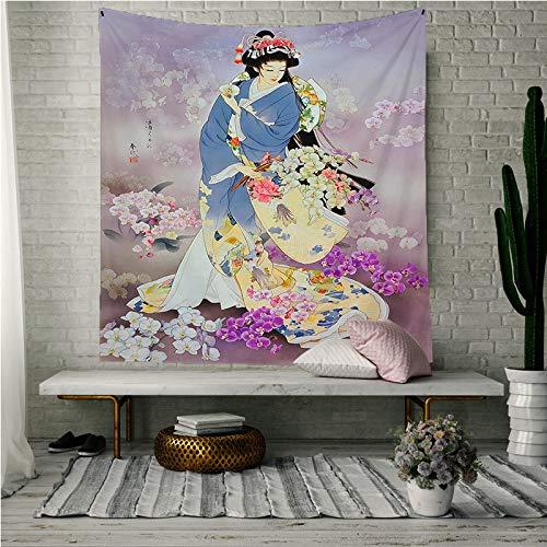 KHKJ Tapiz japonés de Tela de Pared Geisha Tapiz Colgante de Pared para Mujer Cortina de Puerta Cocina Restaurante Pared decoración del hogar A6 200x150cm
